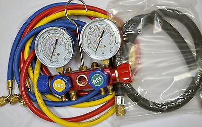 4-way Al Alloy Manifold Gaugehose Set R410a R22 R134a Ac Hvac Charging Tool New