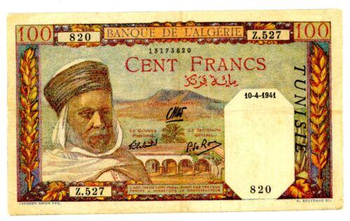 Tunisia ... P-13a ... 100 Francs ... 1941 ... Choice *VF-XF*.