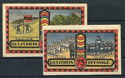 Hamburg 50 + 75 Pfennig Notgeld R. Wichmann Univeral Postkartenzentrale