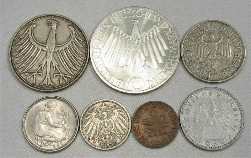 Lot of 7 Vintage Germany Foreign Currency Coins 1905-1972 AG215