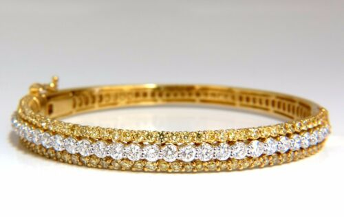 5.32ct Natural Round Fancy Yellow Diamonds Bangle Bracelet 14kt+