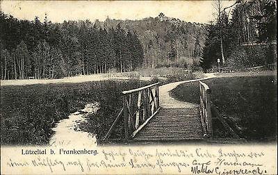 Frankenberg Sachsen 1905 Brücke AK mit Bahnpoststempel AK vom Verlag Aug. Ivens