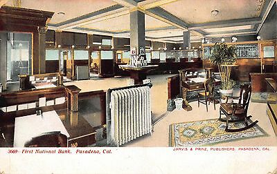 Postcard Interior Of First National Bank In Pasadena  California 113486