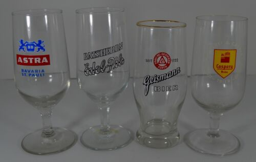 Vintage Pilsner German Stem Beer Glasses Set of 4 Collectible Bar Drinkware