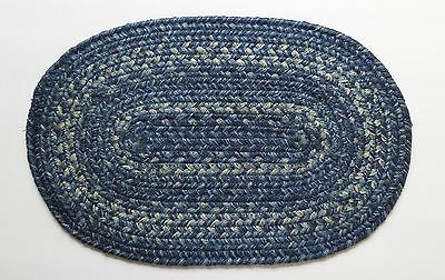 "Homespice Decor DENIM Blue Braided Jute 10"" x 15"" Table Mat, Trivet"