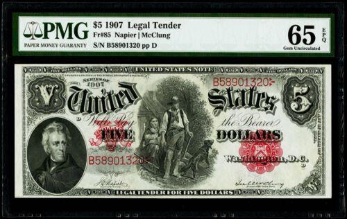 "$5 1907 Legal Tender "" Woodchopper "" Fr#85 Napier   Mc Clung PMG 65 EPQ Gem UNC"