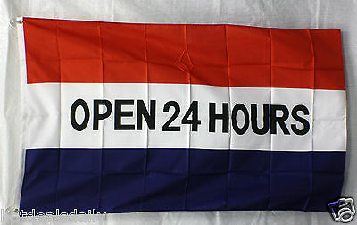 Open 24 Hours Flag 3x5 Banner Store Concession Vending Business Advertising