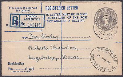 1928 London Apprentice Registered Envelope: Kingsbridge, Devon (Receiver)