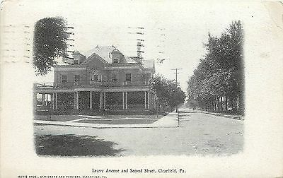 1907 1915 Postcard  Leavy Avenue   Second Street  Clearfield Pa  Posted