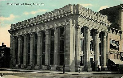 Joliet Illinois First National Bank Weltin Shoe Company 1911 Postcard