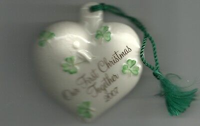 Our First Christmas Ornament (Belleek Porcelain China 2007 OUR FIRST CHRISTMAS TOGETHER Irish Heart)