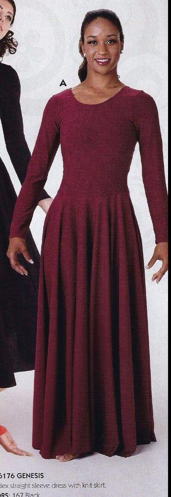 Praise Liturgical Long Sleeve Plum Dress Praisewear Dance Ladies