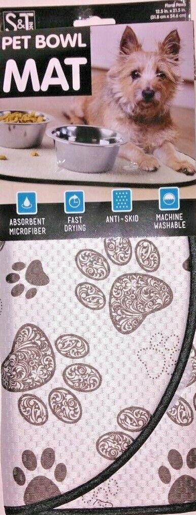 Dog Cat Food Water Bowl Mat Oval Absorbant Fast Dry Machine