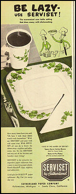 1947 Vintage ad for Serviset paper tableware by Sutherland (052512)
