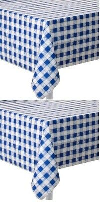(2) Blue gingham Plastic Party Table Cloth 54