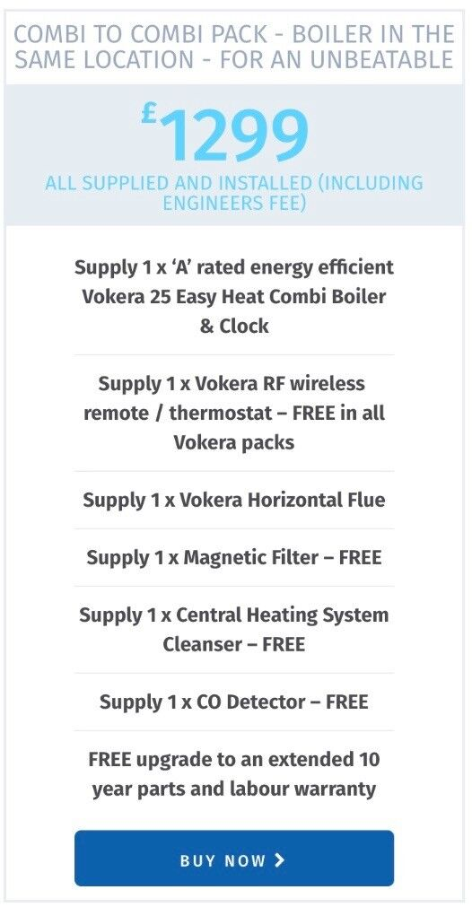 Combi boilers supplied and installed for only £1299! 10 year ...