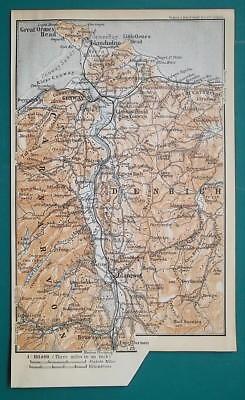 1897 BAEDEKER MAP - UNITED KINGDOM Wales Conway,  Betws-y-Coed & Environs