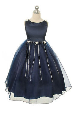 Baby Blue Flower Girl Dresses (New Navy Blue Flower Girl Dress Pageant Wedding Easter Christmas Party Baby)