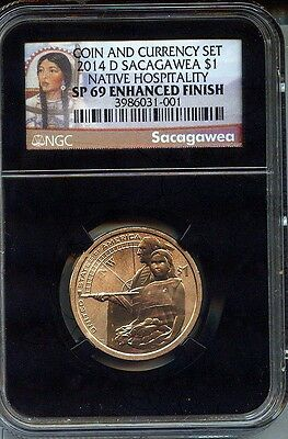 2014 D  ENHANCED SACAGAWEA NGC SP69   FROM THE COIN & CURRENCY SET