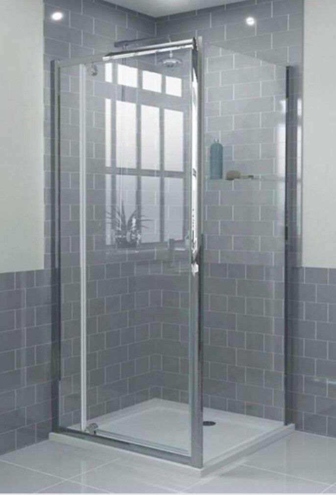 Brand new in box 4mm Square Framed Pivot Enclosure 760mm x 760mm and square shower tray