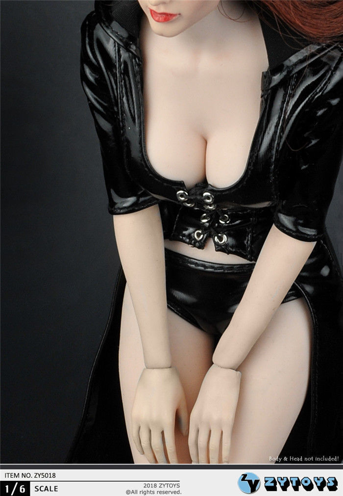 """ZYTOYS 1//6 Female Black Conjoined Leather Clothes Slim Coat F 12/"""" Figure Body"""