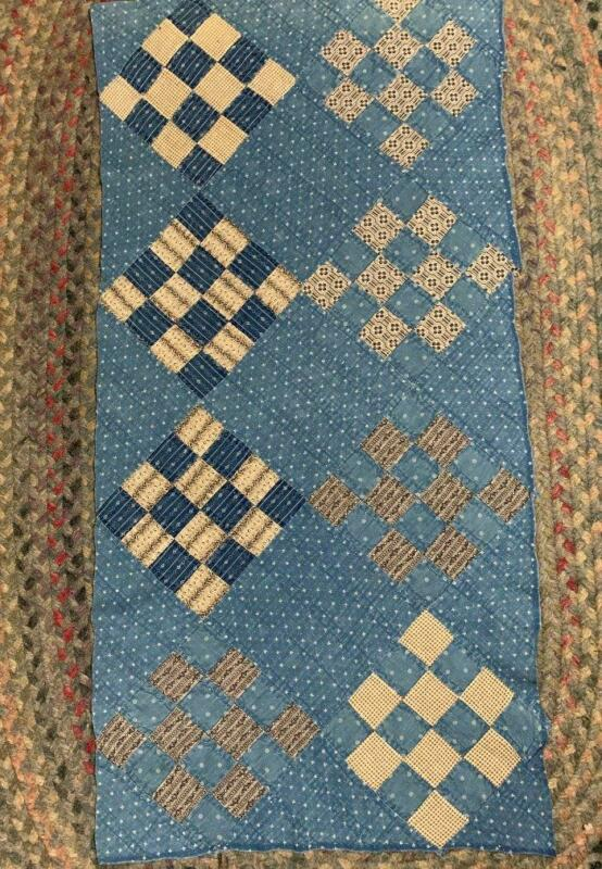 "Antique Fabric Quilt Top Cutter Indigo Cadet Blue Farmhouse Pc 18""x 36"""