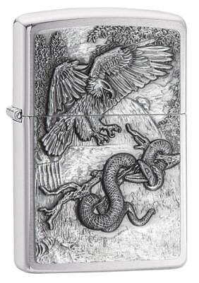 Zippo Windproof Chrome Eagle vs. Snake Emblem Lighter, 29637, New In Box