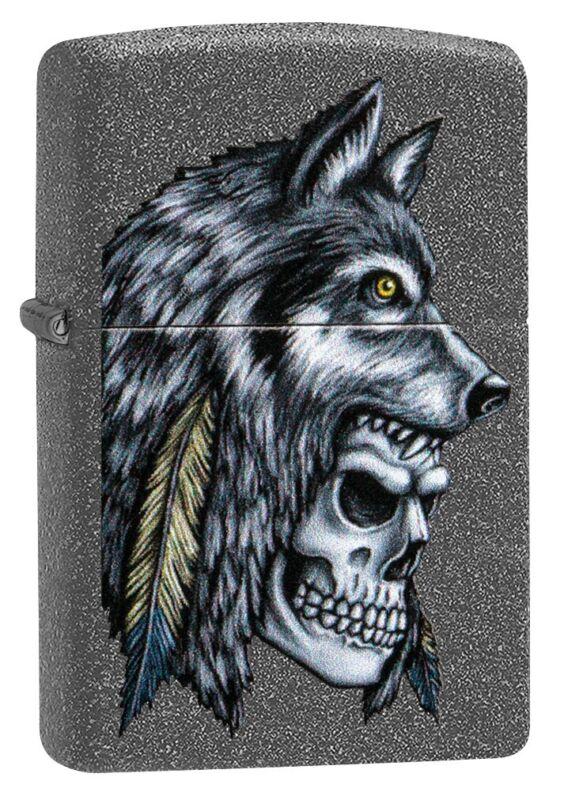 Zippo Wolf Skull Feather Design Iron Stone Windproof Pocket Lighter, 29863