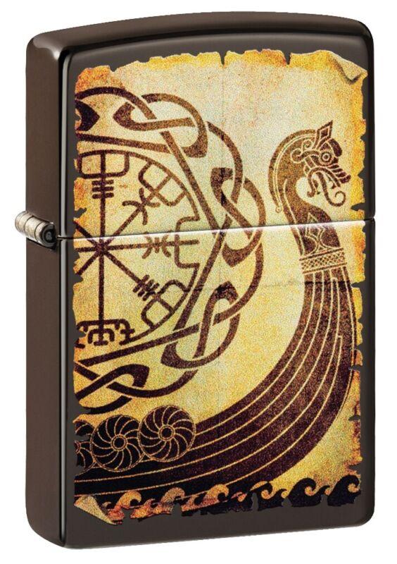 Zippo Viking Warship Design Brown Windproof Pocket Lighter, 49182