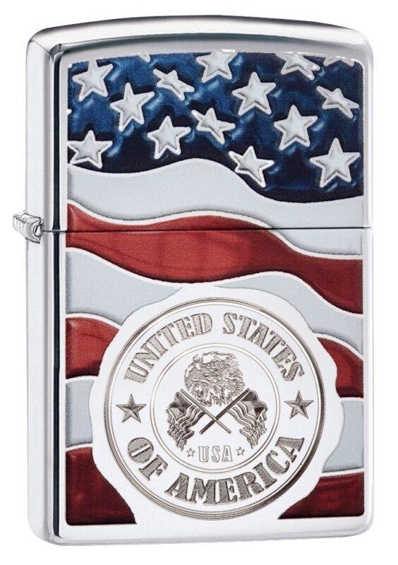Zippo American Stamp on Flag High Polish Chrome Windproof Pocket Lighter, 29395