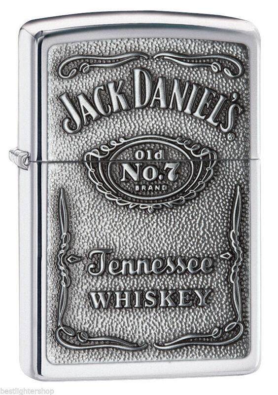 Zippo Polished Chrome Lighter With Pewter Jack Daniels Emblem, 250JD.427, NIB