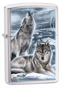 Zippo Windproof Lighter, Chrome W/ Wolves, Mazzi Winter, 28002, New In Box