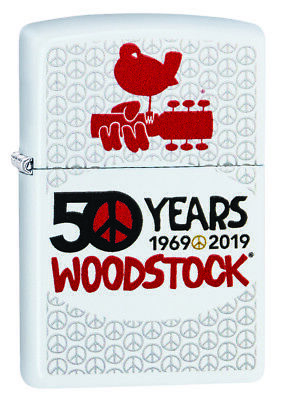 ZIPPO Woodstock 50 Years Poster, White Matte Windproof Lighter new in Box 49012