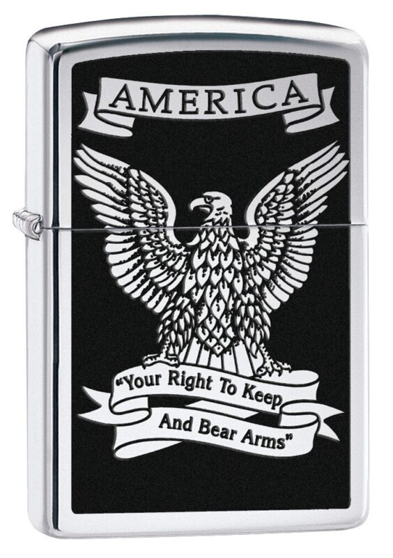Zippo American Eagle High Polish Chrome Windproof Pocket Lighter, 28290