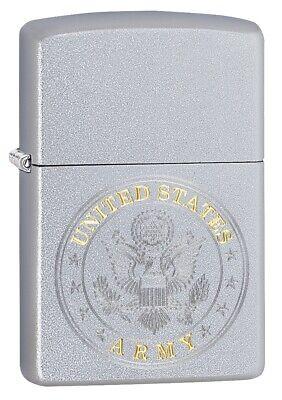 Zippo U.S. Army Emblem Satin Chrome Windproof Pocket Lighter, 49153