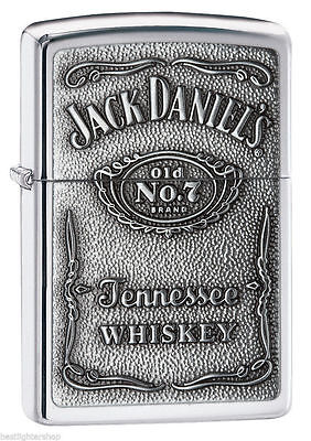 "Zippo ""Jack Daniel's"" High Polish Chrome Finish Emblem Lighter, 250JD-427"