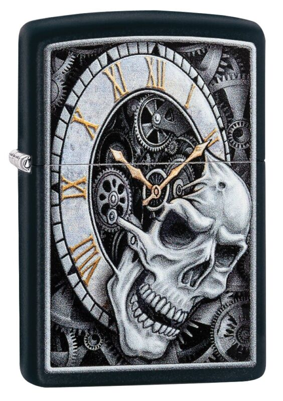 Zippo Skull Clock Design Black Matte Windproof Pocket Lighter, 29854