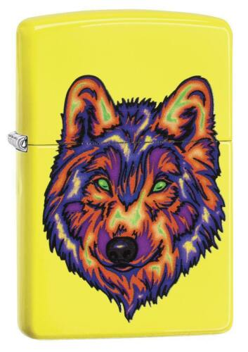 Zippo Neon Yellow Windproof Lighter With Colorful Wolf, 29639, New In Box