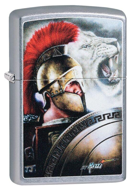 Zippo Mazzi Roman Soldier with Lion Street Chrome Windproof Pocket Lighter, 4...