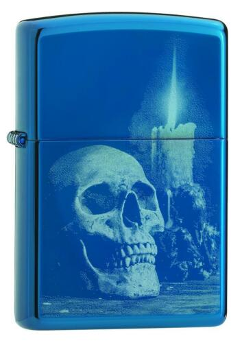 Zippo Windproof Sapphire Blue Lighter With Skull & Candle, 29704, New In Box