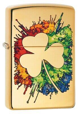 zippo graffiti clover design high polish brass