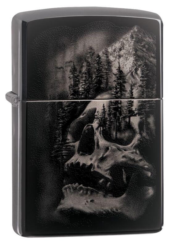Zippo Skull Mountain Design Black Ice Windproof Pocket Lighter, 49141