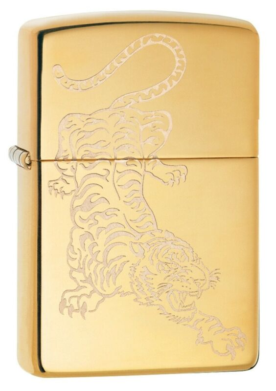 Zippo Tiger Design High Polish Brass Windproof Pocket Lighter, 29884
