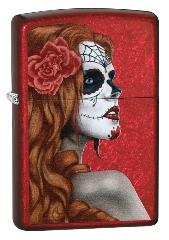 Zippo Day of the Dead Girl Candy Apple Red Windproof Pocket Lighter, 28830