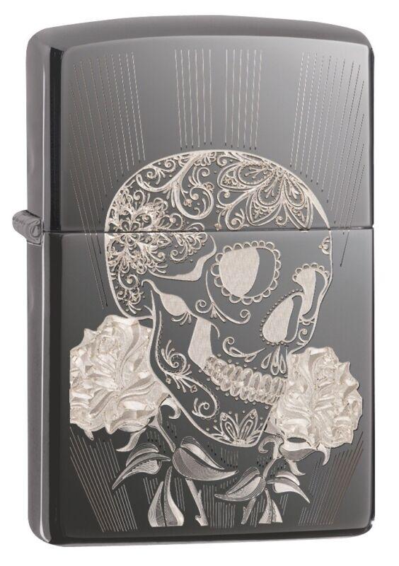 Zippo Fancy Skull Design Black Ice Windproof Pocket Lighter, 29883