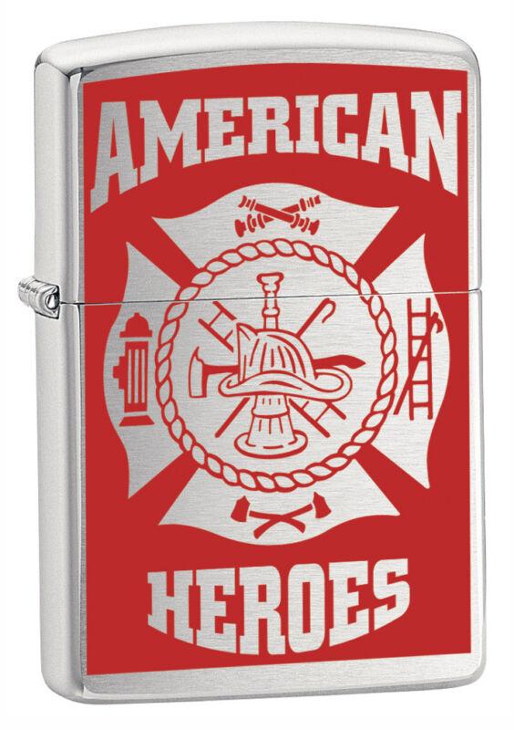 American Heroes Firefighter Fire Department Emblem Badge Chrome Zippo Lighter