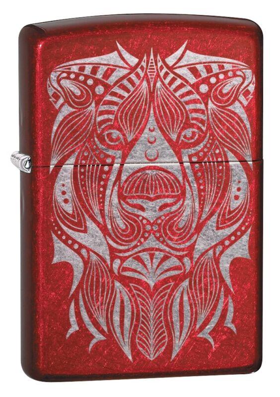 Zippo Lion Tattoo Design Candy Apple Red Windproof Pocket Lighter, 49109