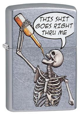 Zippo Windproof Drinking Skeleton Lighter, Goes Right Thru Me 29613, New In Box](Skeleton Drinking)