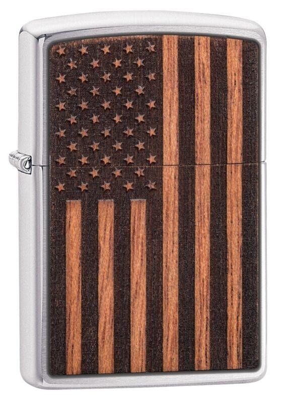 Zippo WOODCHUCK USA American Flag Brushed Chrome Windproof Pocket Lighter, 29966