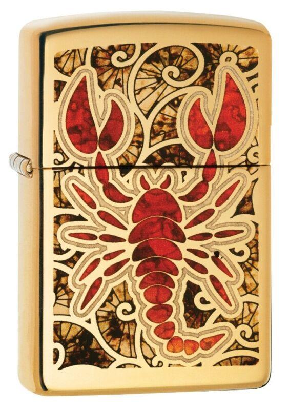 Zippo Scorpion High Polish Brass Fusion Design Windproof Pocket Lighter, 29096